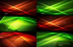Set of neon smooth wave digital abstract backgrounds. Set of vector neon smooth wave digital abstract backgrounds Stock Photos