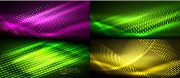 Set of neon smooth wave digital abstract backgrounds. Set of vector neon smooth wave digital abstract backgrounds Royalty Free Stock Photos