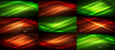 Set of neon smooth wave digital abstract backgrounds. Set of vector neon smooth wave digital abstract backgrounds Stock Image