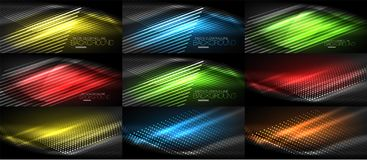 Set of neon smooth wave digital abstract backgrounds. Set of vector neon smooth wave digital abstract backgrounds Royalty Free Stock Images