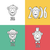 Set of vector New Year 2016 greeting cards. Hand drawn linear po. Rtrait of cute smiling monkey in hat, glasses and bow tie. T-shirt print design illustration Stock Photography