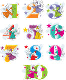 Set vector numbers with elves Stock Photos