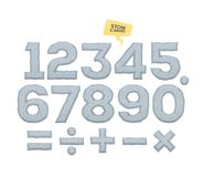 Set of vector numbers and mathematical signs. Volumetric elements with bevel. Set of vector numbers and mathematical signs. Volumetric elements with bevel Stock Images