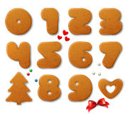 Set of vector numbers in shape of Christmas gingerbreads with design elements Royalty Free Stock Image