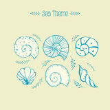 Set of vector objects ammonites and sea shells in sketch style Royalty Free Stock Images