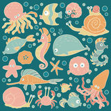 Set of vector ocean animals, stickers of fish Royalty Free Stock Photo