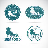 Set of vector octopus seafood labels Royalty Free Stock Photo