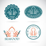 Set of vector octopus seafood labels Stock Photography
