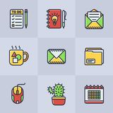 Set of vector office icons stock illustration