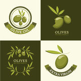 Set of vector olive logo, icons, labels. Agriculture, organic na Royalty Free Stock Photography