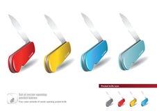 Set of vector opening pocket knives Stock Photos