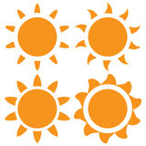 Set of vector orange sun Royalty Free Stock Photography