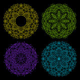 Set of vector ornamental round lace pattern Royalty Free Stock Images