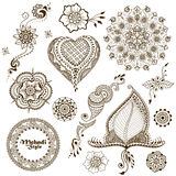 Set of vector ornaments in indian style. Mehndi ornamental floral elements Royalty Free Stock Photo