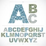 Set of vector ornate capitals, flower-patterned typescript. Blue. Characters created using herbal texture Royalty Free Stock Images