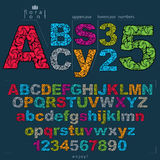 Set of vector ornate letters and numbers, flower-patterned types Stock Image