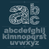 Set of vector ornate lowercase letters, flower-patterned typescr Stock Photos