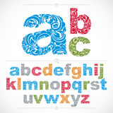 Set of vector ornate lowercase letters, flower-patterned typescr Stock Photography