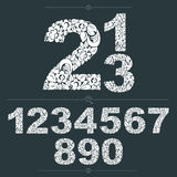 Set of vector ornate numbers, flower-patterned numeration. Black Royalty Free Stock Photography