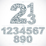Set of vector ornate numbers, flower-patterned numeration. Black Royalty Free Stock Photo