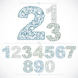 Set of vector ornate numbers, flower-patterned numeration. Blue Stock Photos