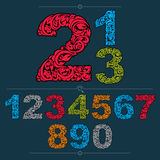 Set of vector ornate numbers, flower-patterned numeration. Color Royalty Free Stock Images