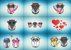 Set of Vector Owls eps Stock Photography