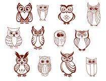 Set of vector owls Stock Photography