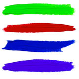 Set of VECTOR paint smears. Purple, green, red and orange colors. Set of VECTOR paint smears. Green, red, blue and purple colors. Bright colors set Stock Photography