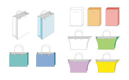 Set of vector paper bags Stock Photography