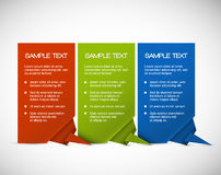 Set of Vector paper cards with origami corner Royalty Free Stock Photography