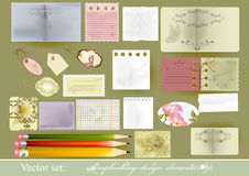 Set of vector paper objects  for scrapbooking Stock Photo
