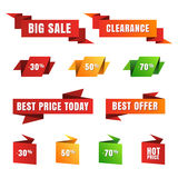 Set of vector paper sale tags, banners, icons. Abstract origami Royalty Free Stock Photos