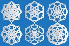 6 paper snowflakes stock illustration