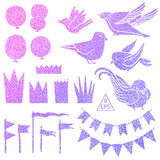 Set of vector party elements with colorful glitter Royalty Free Stock Image