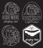 Set of vector pattern on black background on the subject surfing, ocean, rescue on water Royalty Free Stock Photography