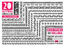 Set of 20 vector pattern brushes. Set of 20 pattern brushes. Seamless borders collection in linocut style includes clean versions of brushes without grunge Stock Photos