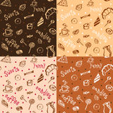 Set of vector pattern with coffee, cakes and sweets. Stock Images