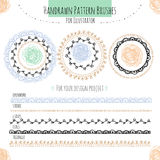 Set with vector pattern hand drawn brushes Royalty Free Stock Images