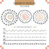 Set with vector pattern hand drawn brushes. Set with seamless vector pattern hand drawn brushes for illustrator. EPS 10 Royalty Free Stock Photo