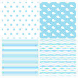 Set of vector patterns for baby boy in marine style. Cute whales, starfish, stripes and waves seamless backgrounds Stock Photography