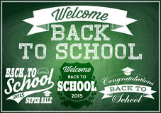 Set  vector patterns for back to school on green blackboard Stock Photos