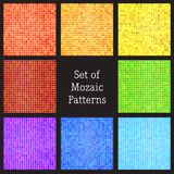 Set of vector patterns of colorful mosaic. Royalty Free Stock Photos