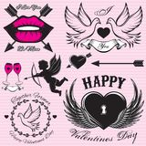 Set vector patterns for love cards for Valentines Day Royalty Free Stock Photography