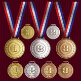 Set of vector patterns medals gold, silver, bronze Stock Photos