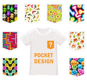 Set of Vector Patterns for Pocket Design on White. Stylish Textures for Modern T-Shirt Design stock illustration