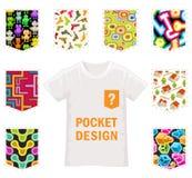 Set of Vector Patterns for Pocket Design on White Stock Image
