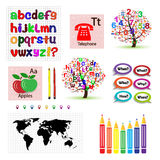 Set of vector patterns for school Royalty Free Stock Photo