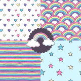 Set of vector patterns. Set of seamless vector patterns with clouds, rainbow, stars and hearts Royalty Free Stock Photography