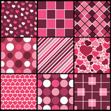 A Set of 9 Vector Patterns for Valentines Day Stock Photo